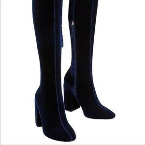 Zara Blue Velvet Knee Boots